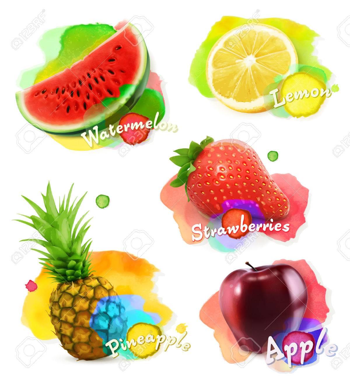 Fruit and berries watercolor, vector illustration set Stock Vector - 41234186