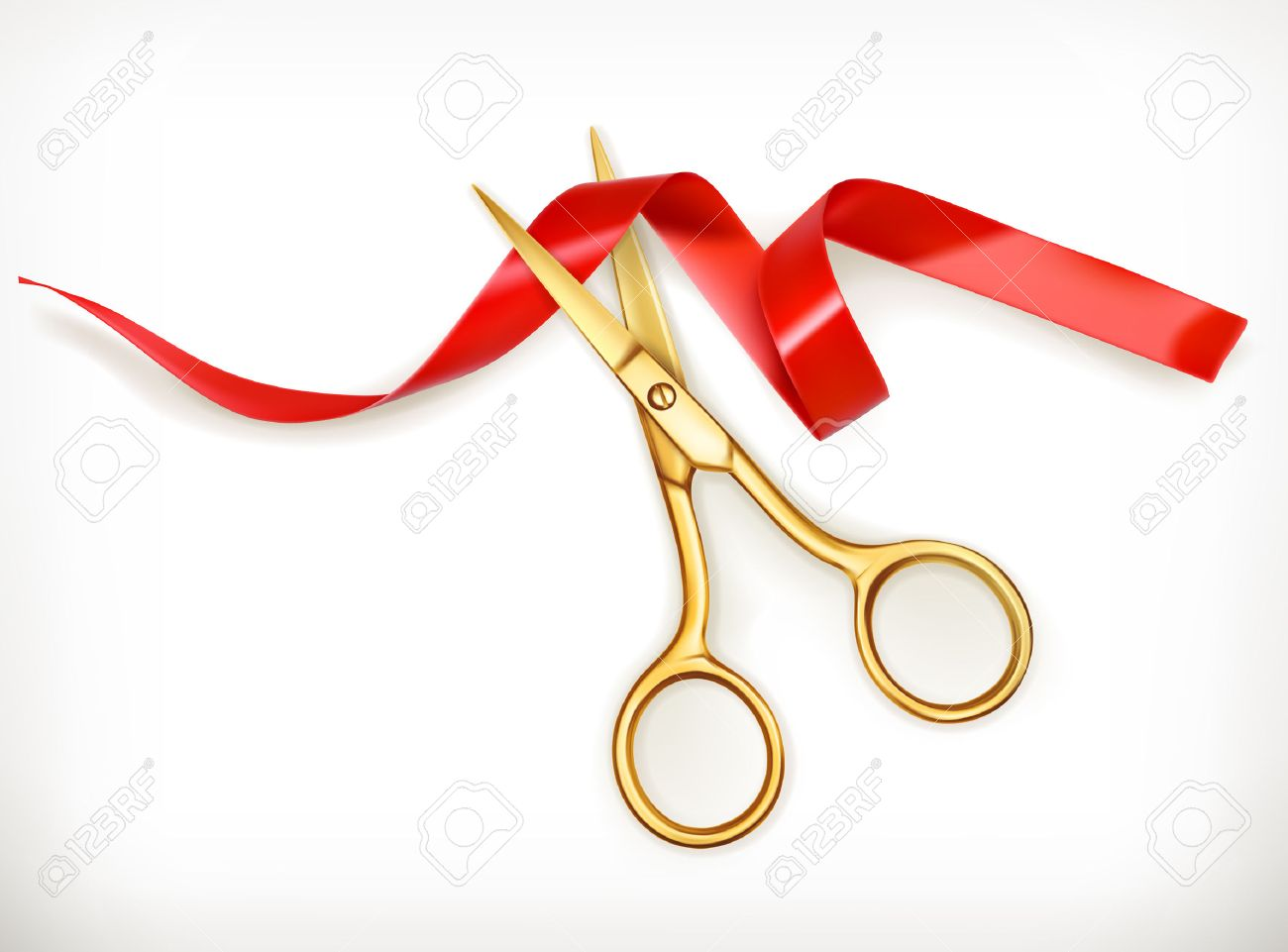 Golden scissors cut the red ribbon, vector object Stock Vector - 41950341