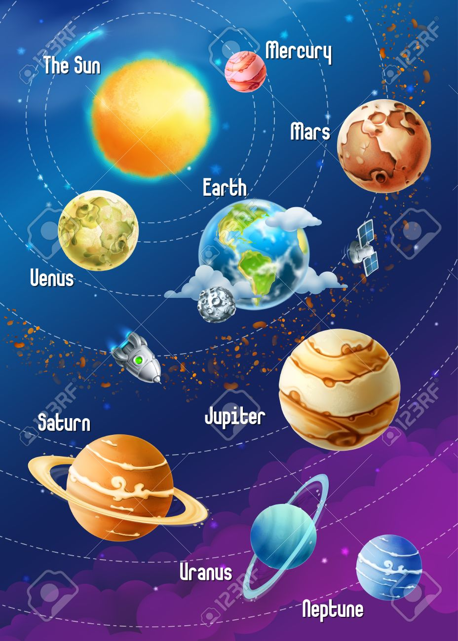 Solar system of planets, vector illustration vertical Stock Vector - 43359177