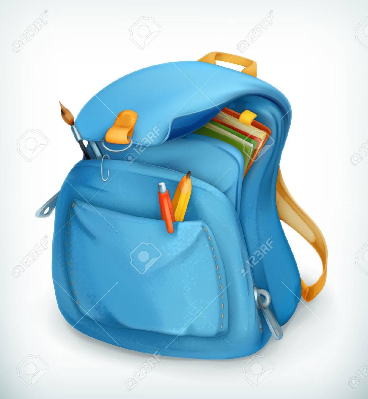 Blue school bag, vector icon - 43459985