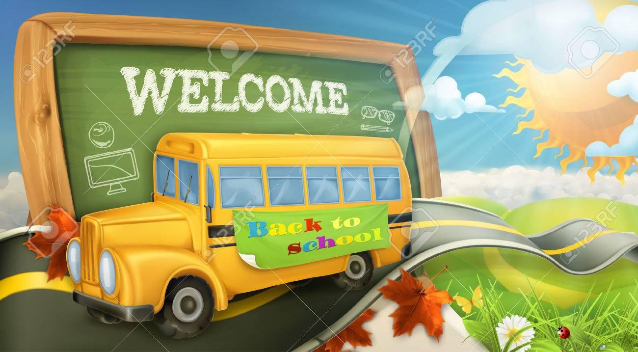 Road to school vector background Stock Vector - 43946553