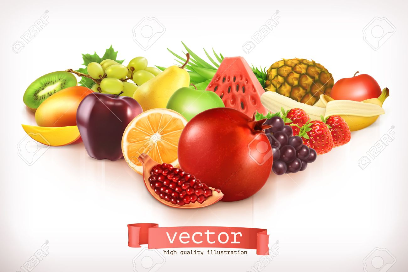 Harvest juicy and ripe fruit, vector illustration isolated on white Stock Vector - 43946607
