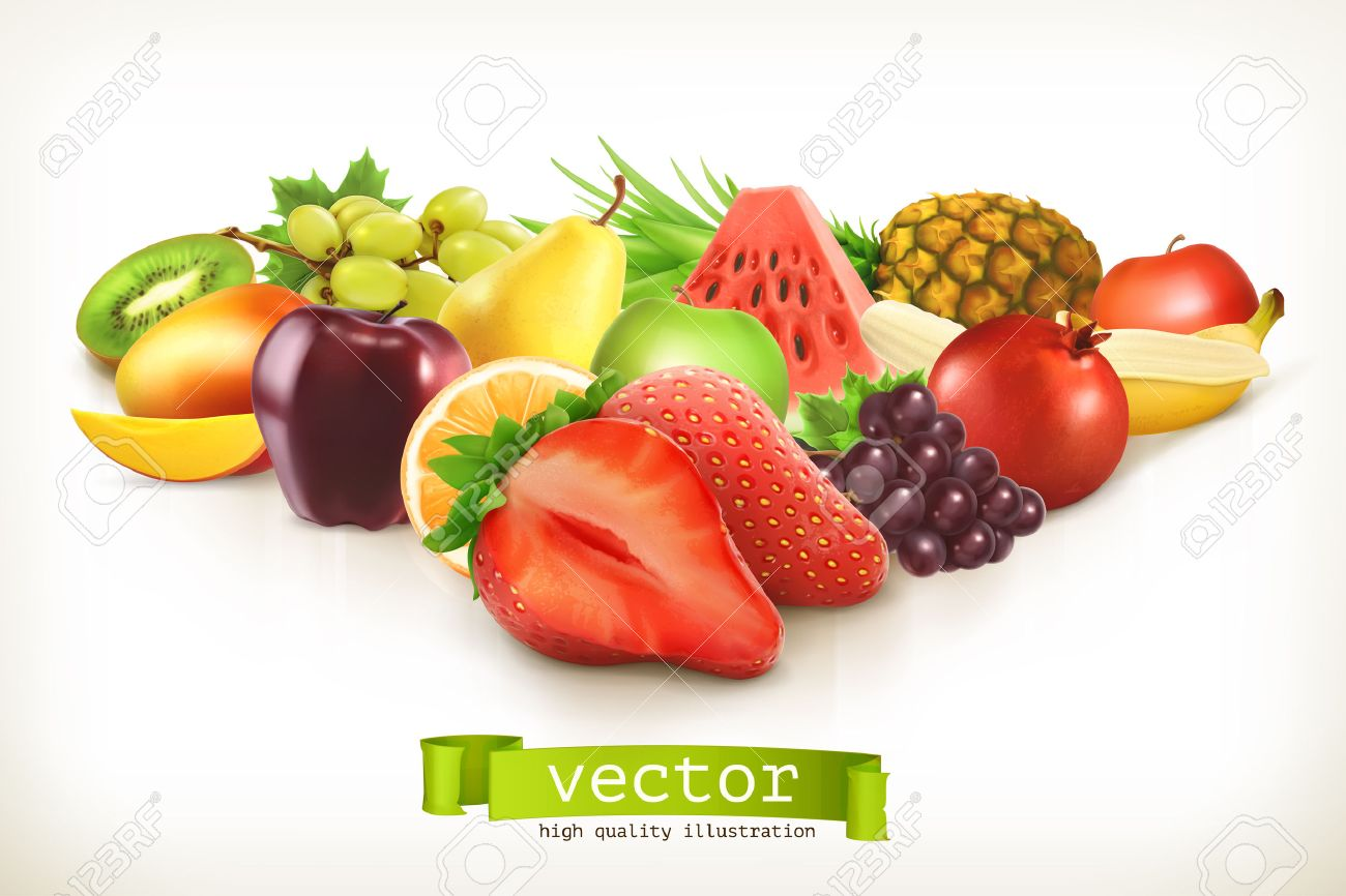 Harvest juicy fruit and berries, vector illustration isolated on white Stock Vector - 43946635