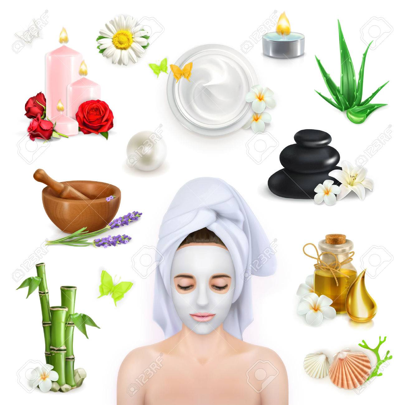 Set with spa, beauty and care vector icons Stock Vector - 45555629