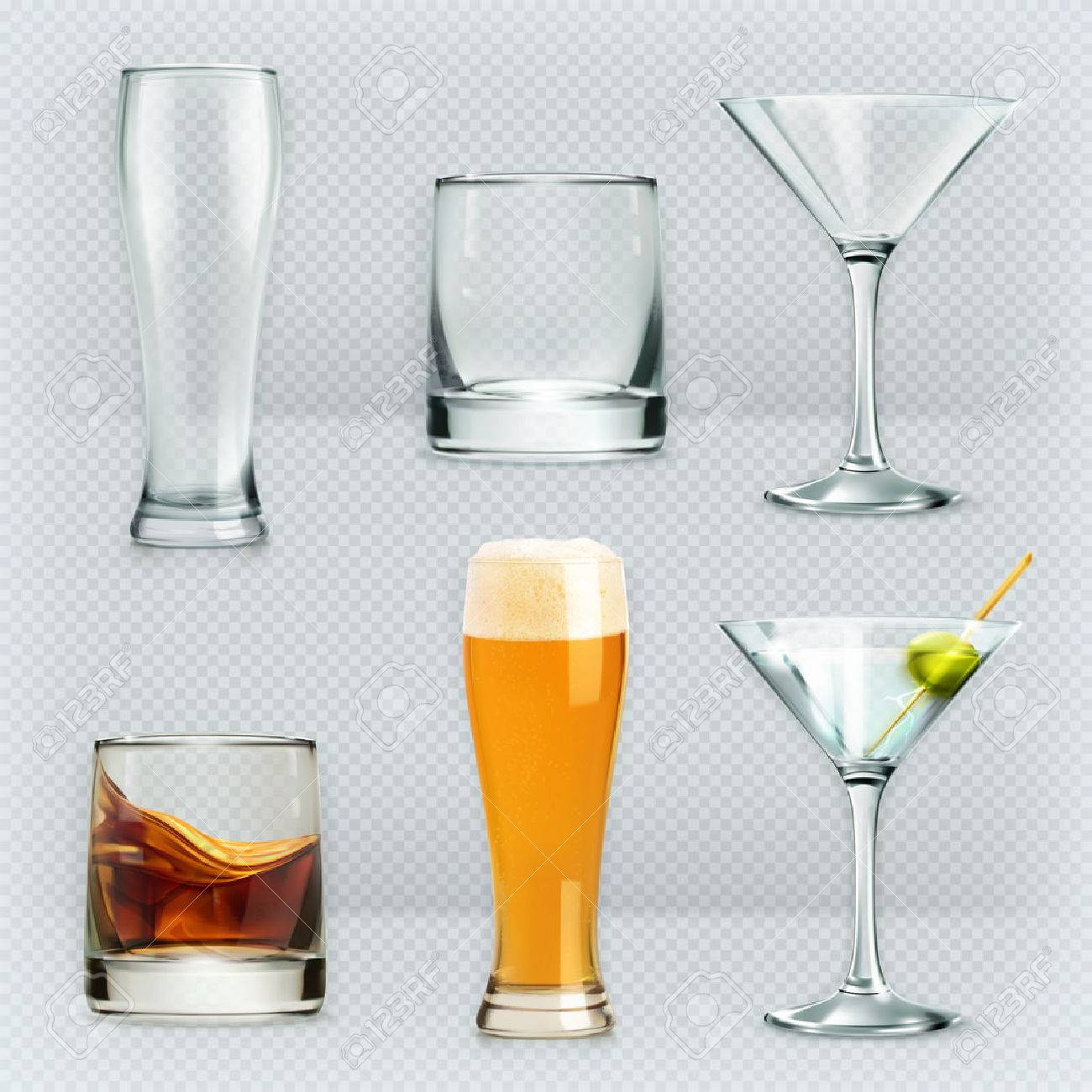 Set with glasses, alcohol drinks vector icons Stock Vector - 46644353