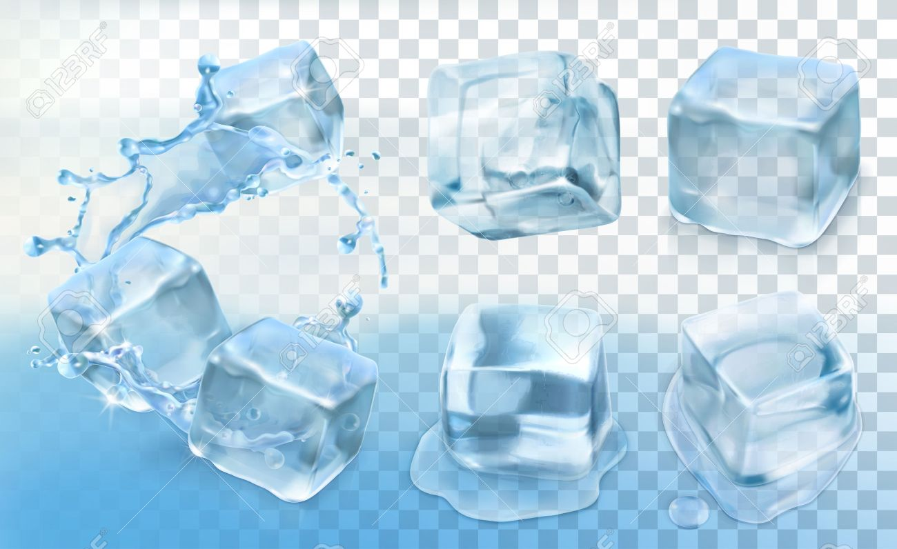 Set with Ice cubes, vector icons with transparency Stock Vector - 46719453