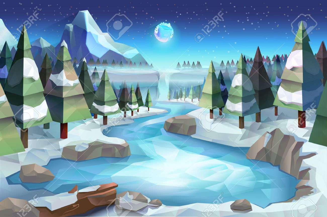 Winter forest, vector background low poly style Stock Vector - 46719473