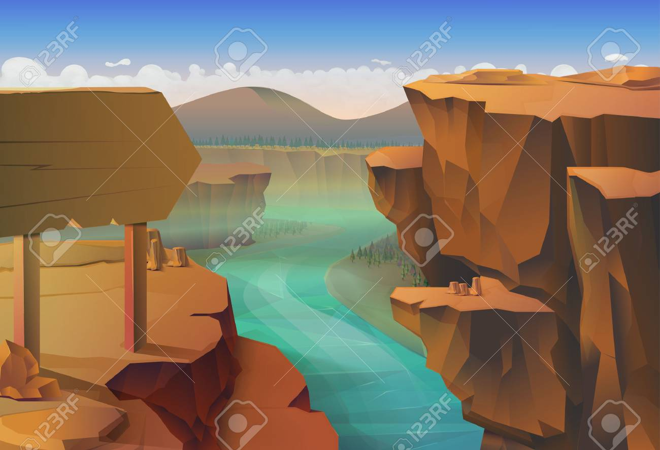 Canyon, nature vector illustration background Stock Vector - 48057807