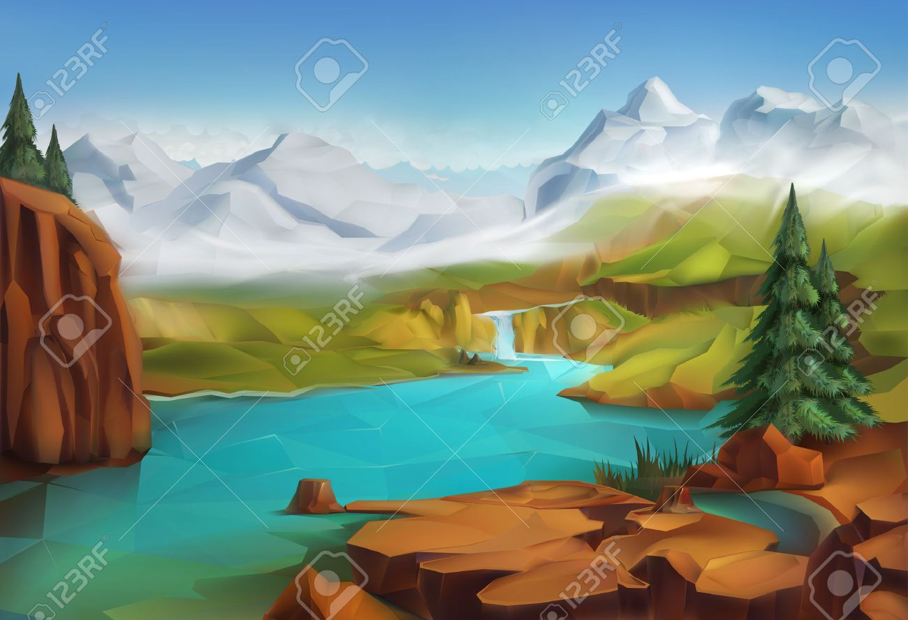 Landscape, nature vector illustration background Stock Vector - 48058269