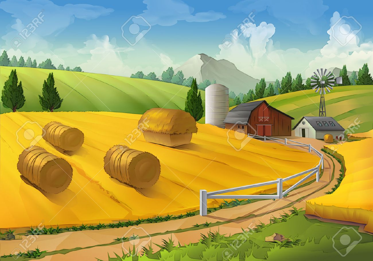 Farm, rural landscape vector background Stock Vector - 48878092