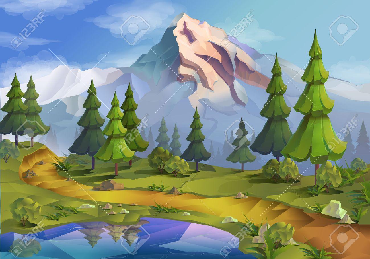 Nature landscape illustration, vector background Stock Vector - 48878203