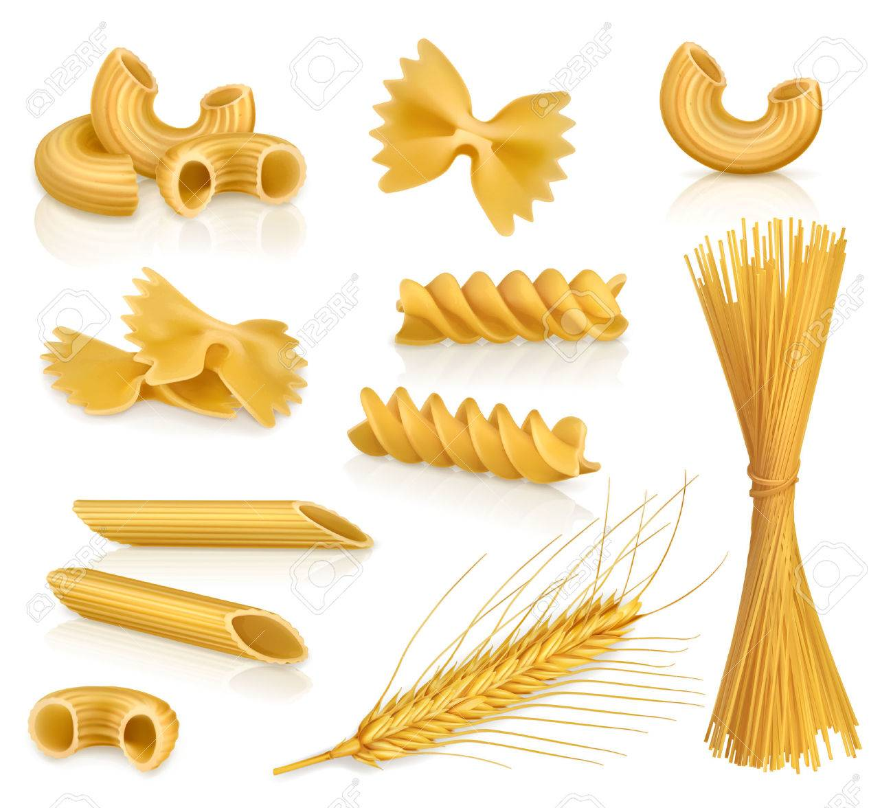 Set with pasta, vector icons, isolated on white background Stock Vector - 48878215
