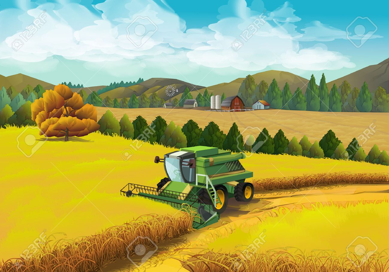 Farm rural landscape, vector background - 49647828