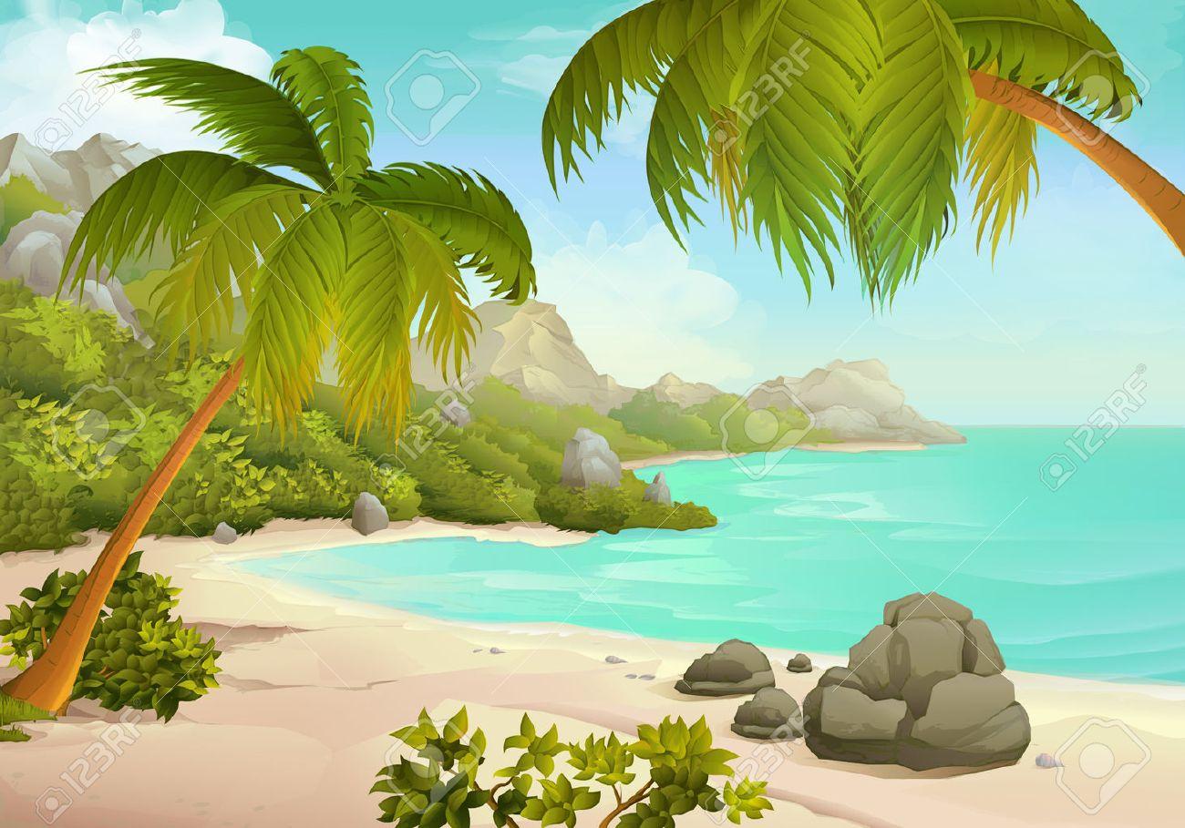 Tropical beach vector illustration background Stock Vector - 49697995