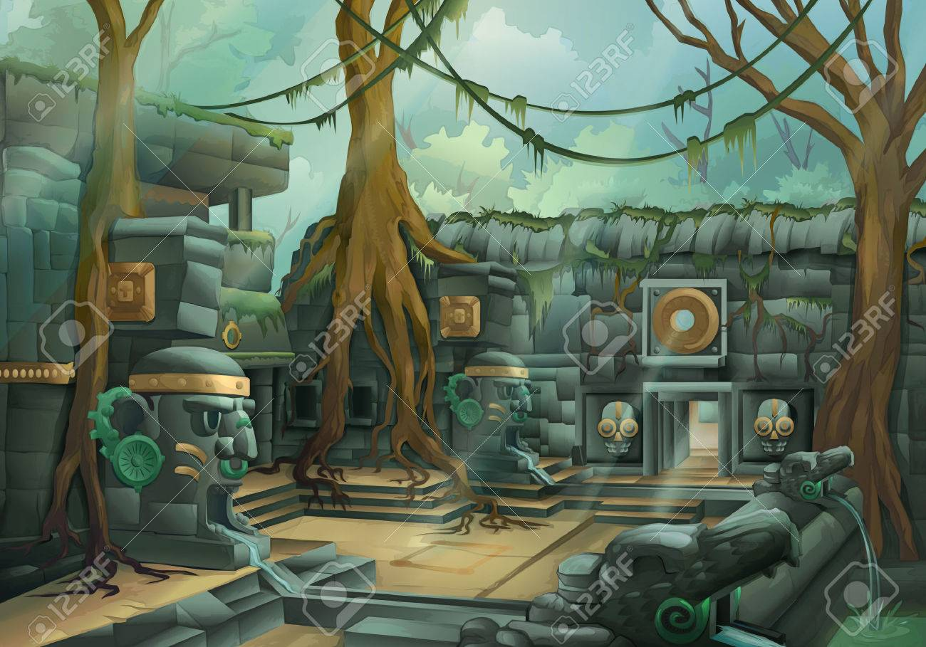Ruins jungle illustration Stock Vector - 49703161