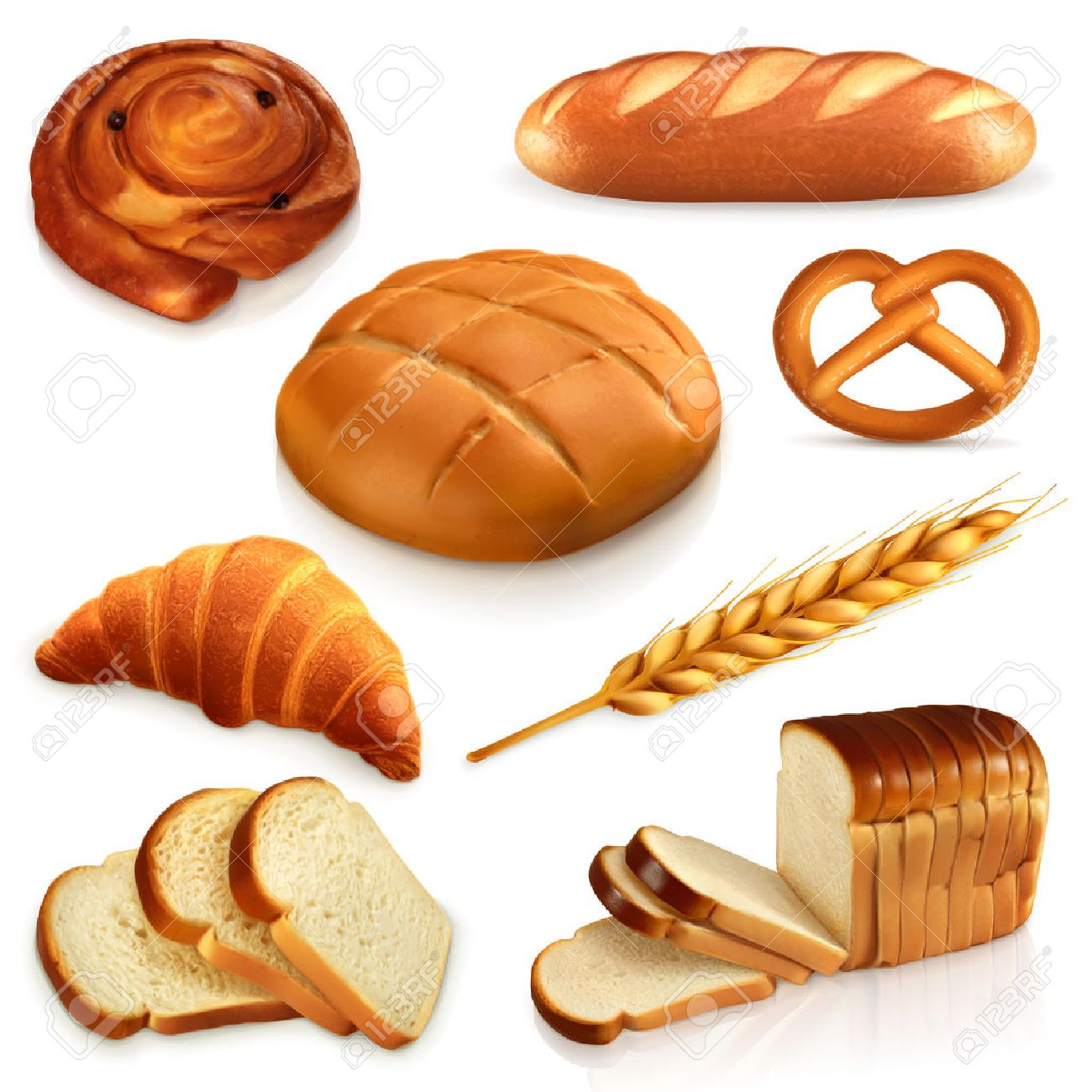 Set ith bread, vector icons , isolated on white background Stock Vector - 50245989