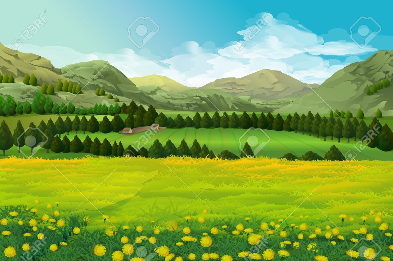 Spring landscape vector illustration background Stock Vector - 50246005