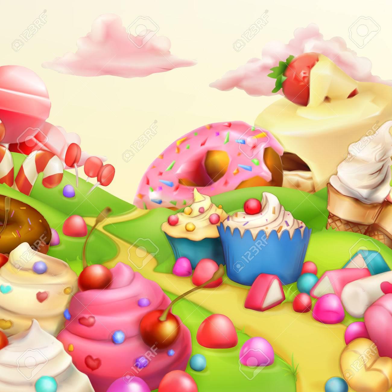 Sweet landscape vector illustration background - 50246006