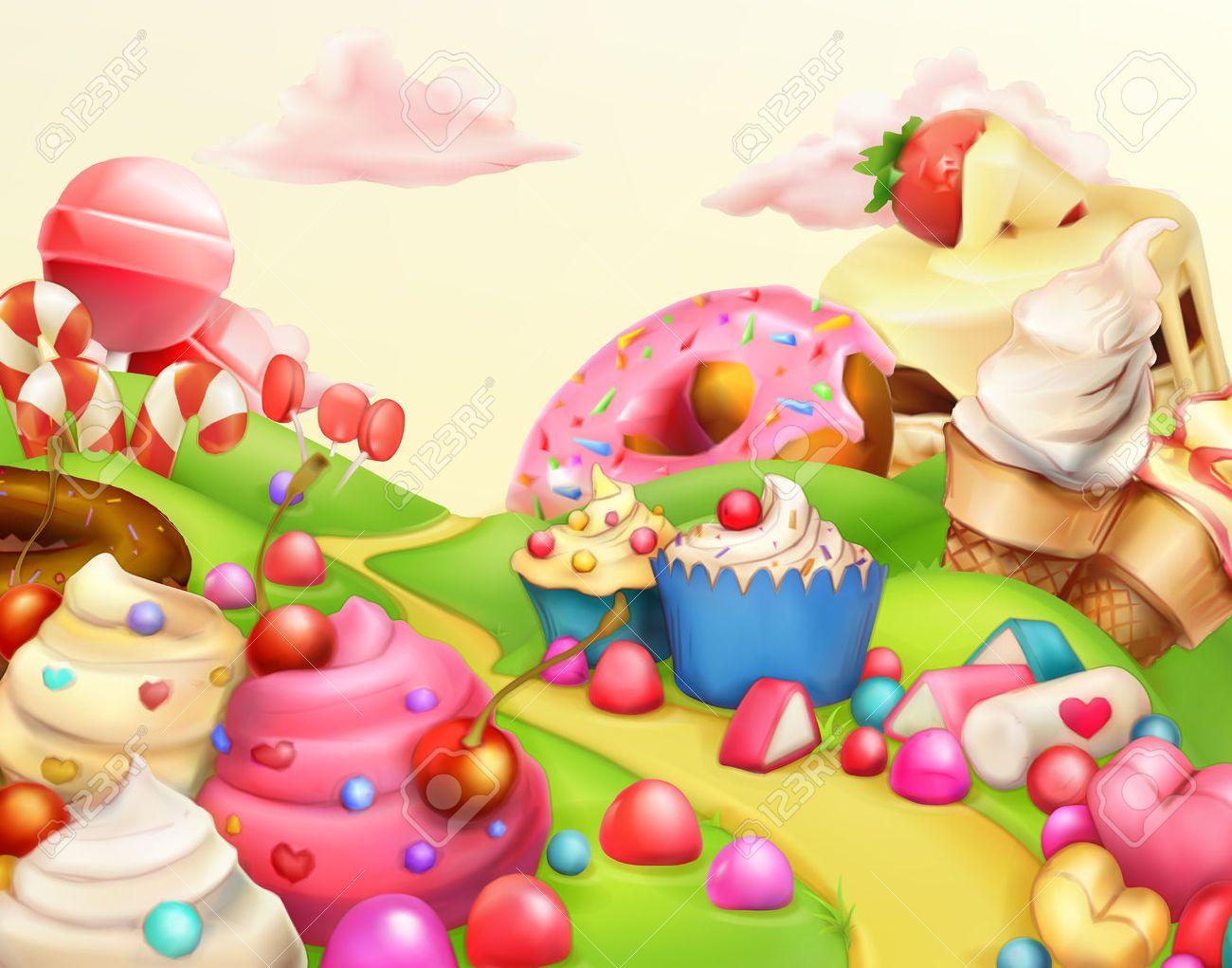 Sweet landscape, vector illustration  background Stock Vector - 50246007