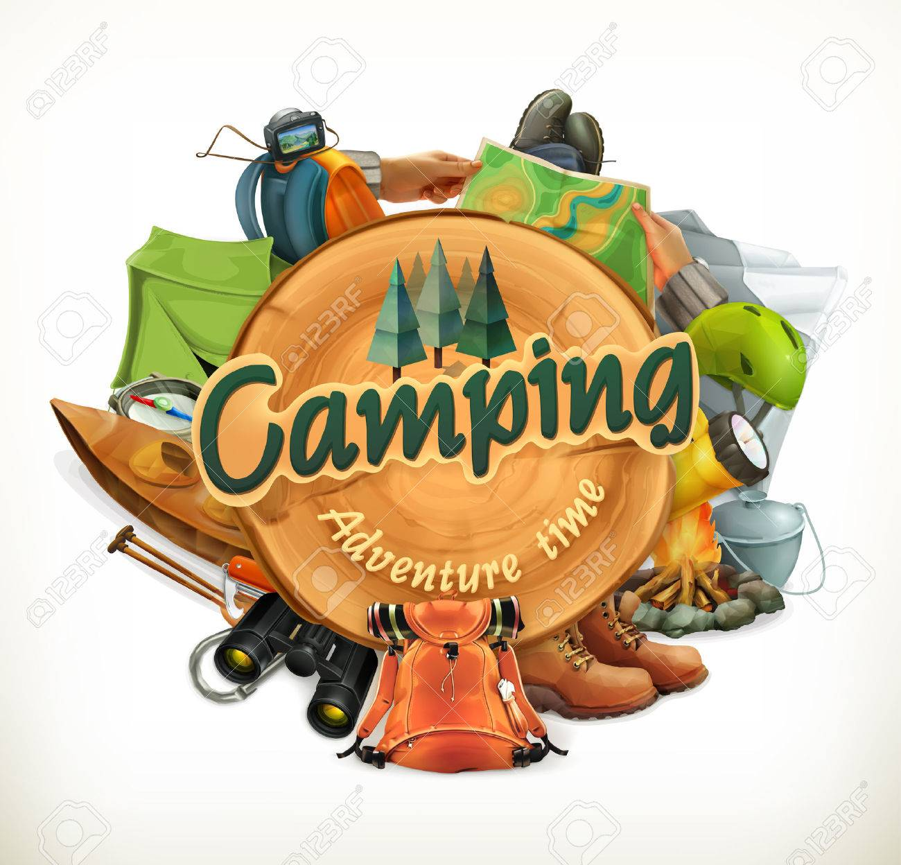 Camping, adventure time illustration - 52144272