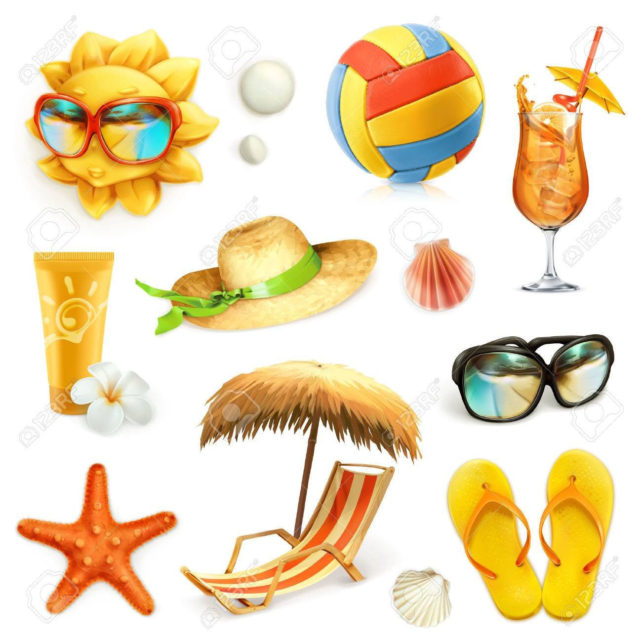 Summer beach, set of vector icons, isolated on white background Stock Vector - 52729785