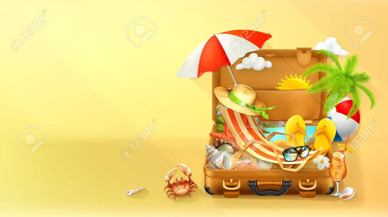 Beach vacation. Summer background, vector illustration - 55856637