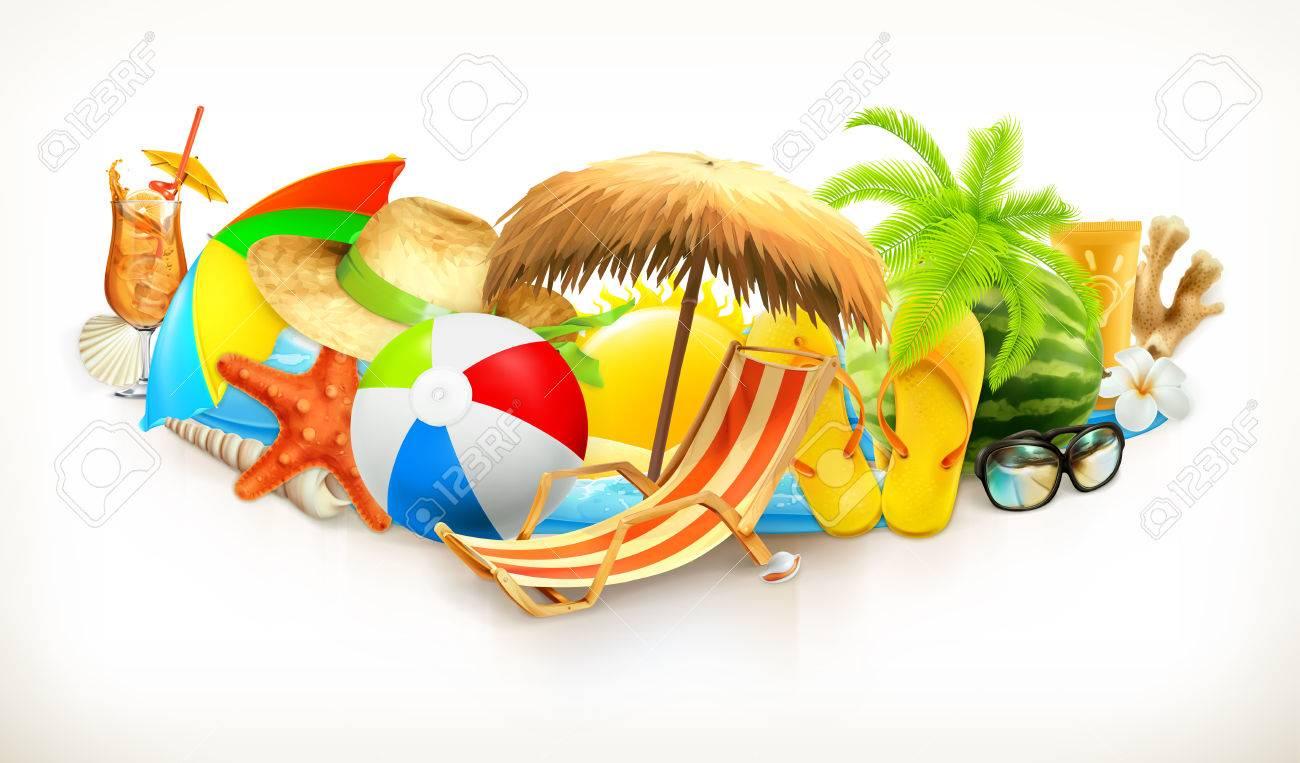 Summer beach set vector illustration - 55857892