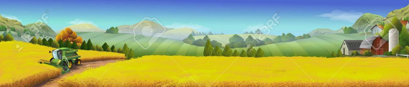 Wheat field, rural landscape, vector background - 55858058