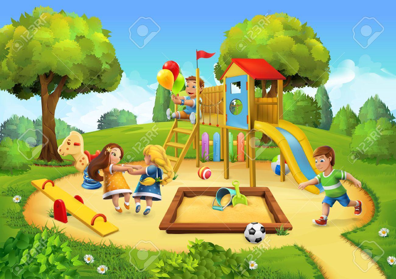 Park, playground vector illustration background Stock Vector - 57589966
