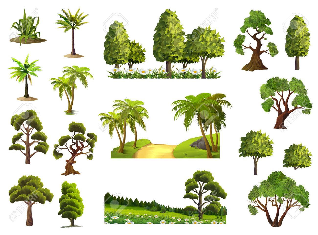 Trees, nature, forest, vector icons set Stock Vector - 58606164