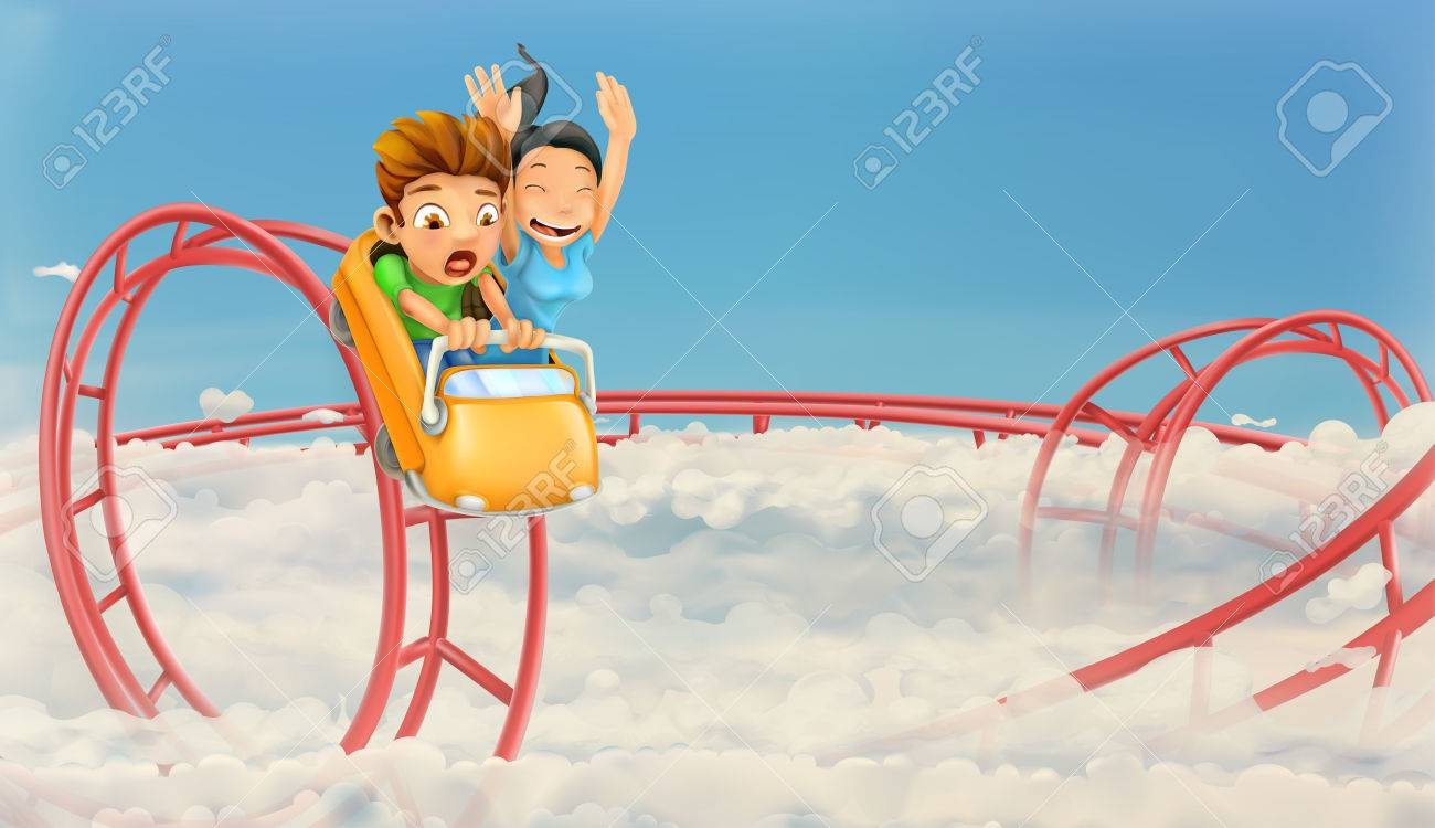 Roller coaster in the clouds, vector background - 68712489
