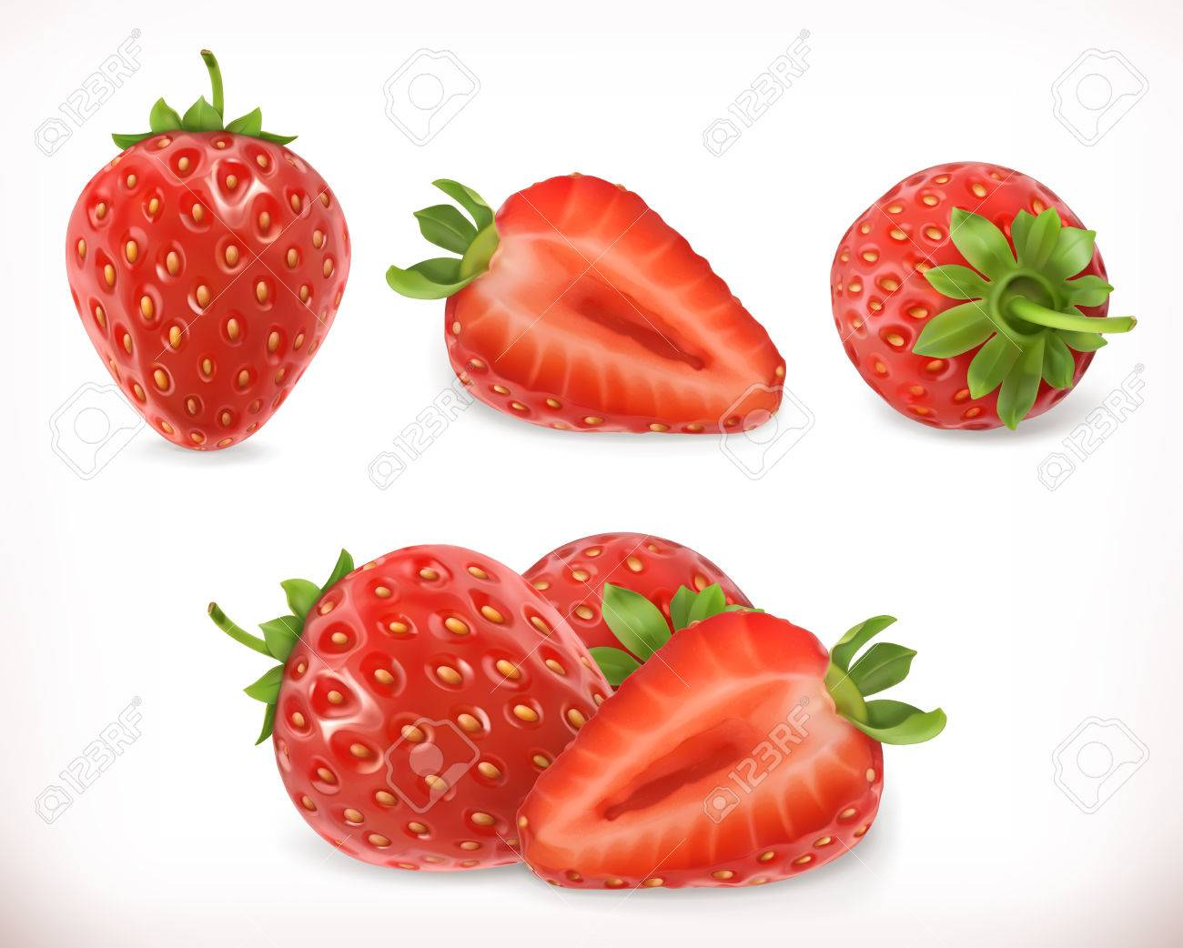 Strawberry. Sweet fruit. 3d vector icons set. Realistic illustration - 68116109