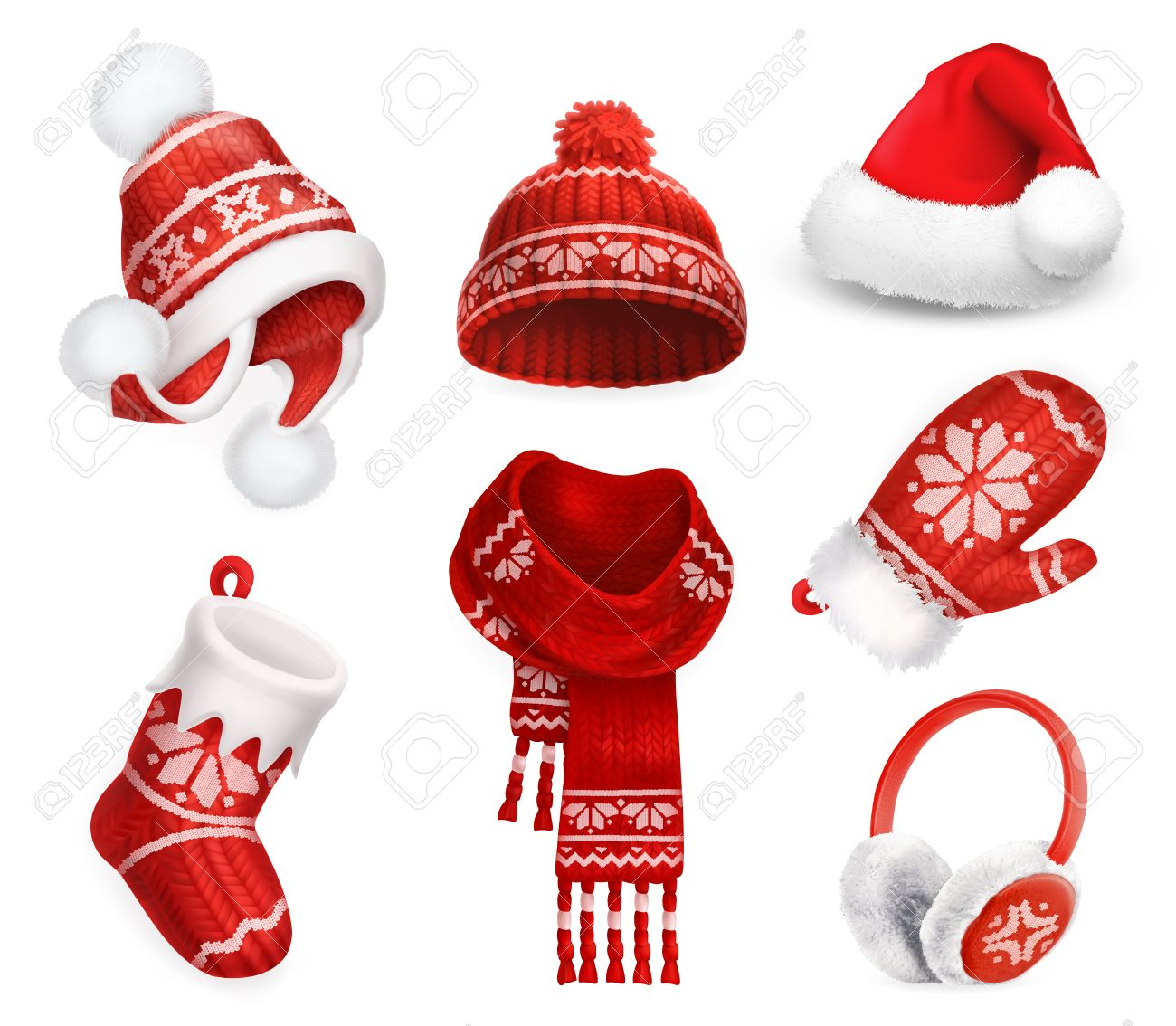 Winter clothes. Santa stocking cap. Knitted hat. Christmas sock. Scarf.  Mitten 75c3c61e8e47