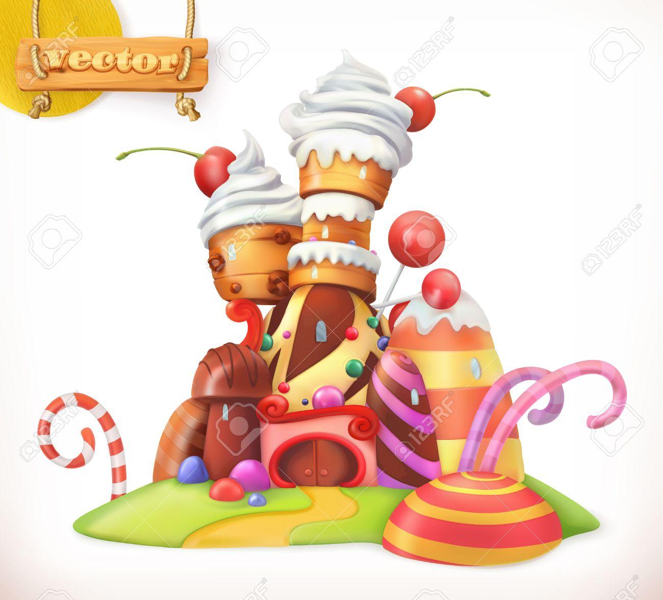 Banque dimages doux château maison de pain dépice gâteau petit gâteau des bonbons 3d vecteur icône
