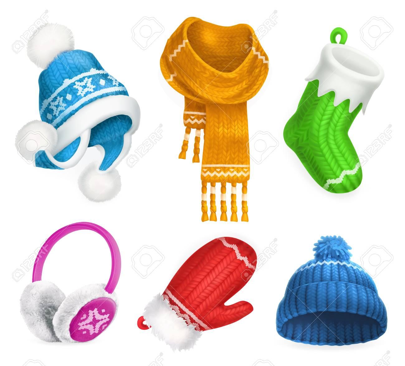 Ropa De Invierno. Sombrero Tejido. Calcetín De Navidad. Bufanda ...