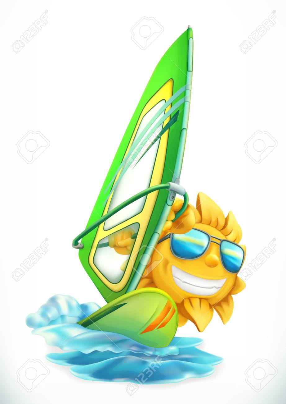 Planche A Voile D Ete Soleil Drole Sur L Icone De Vecteur 3d De Planche De Surf Clip Art Libres De Droits Vecteurs Et Illustration Image 93768164