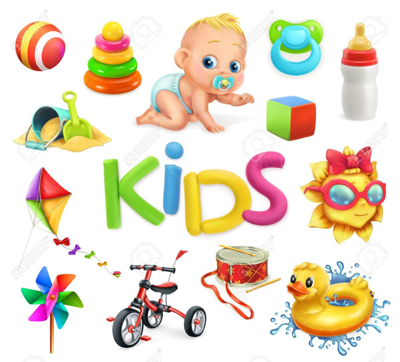 Kids and toys. Children playground, 3d vector illustration. - 99554543