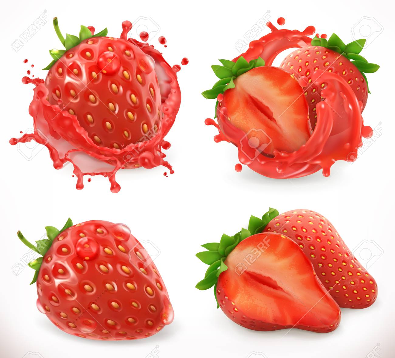 Strawberry juice. Fresh fruit, 3d realistic vector icon - 103487803