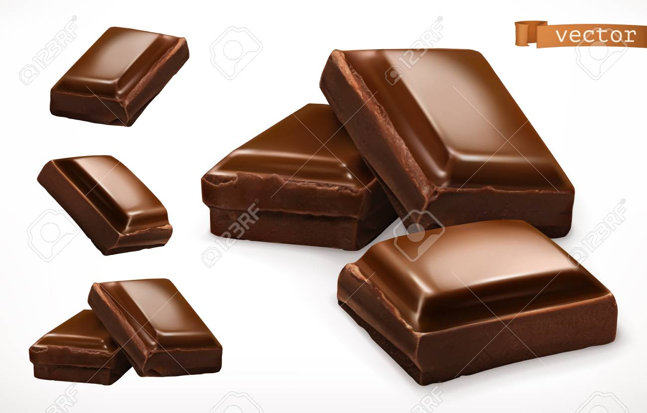 Chocolate pieces. 3d realistic vector icon - 104668543