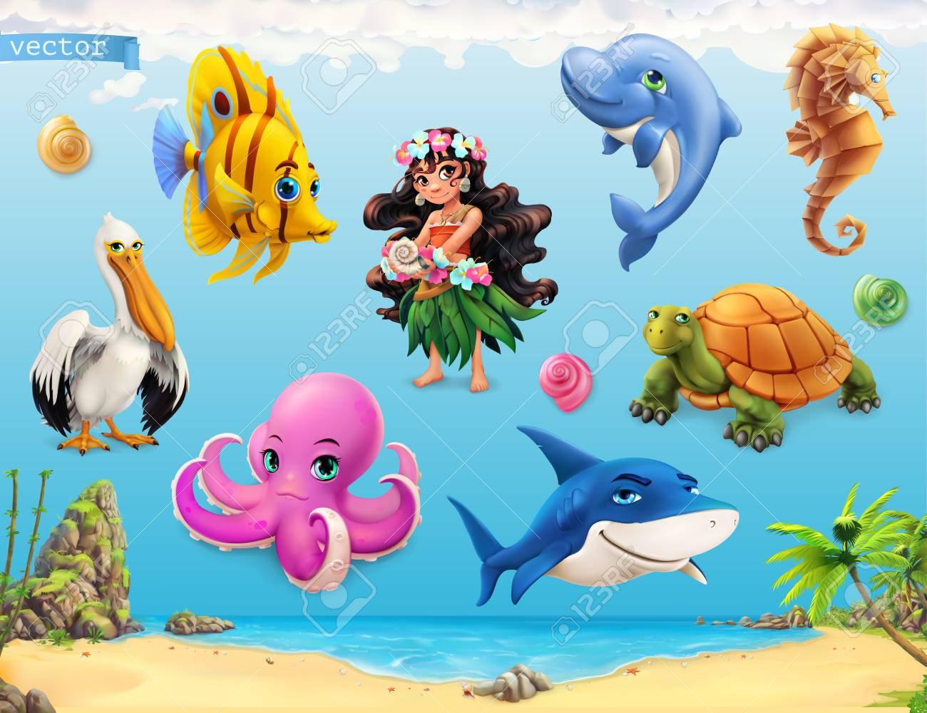 Animated Pictures Of Seashells little girl with a seashell. funny sea animals and fishes. 3d..