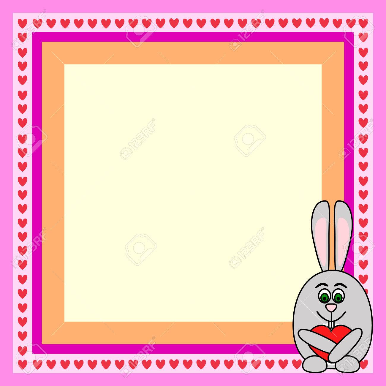greeting card frame with rabbit with heart Stock Vector - 6478913