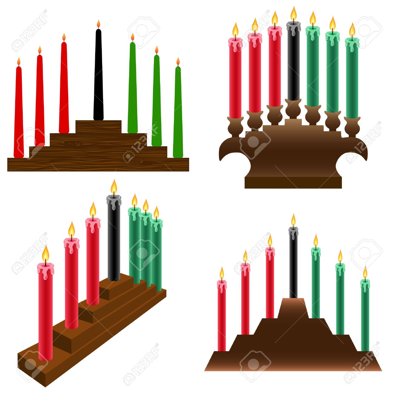 a set of four different kwanzaa kinara royalty free cliparts