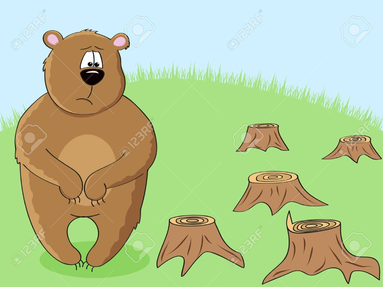 a sad brown bear looking at stumps after forest cutting down Stock Vector - 9932901