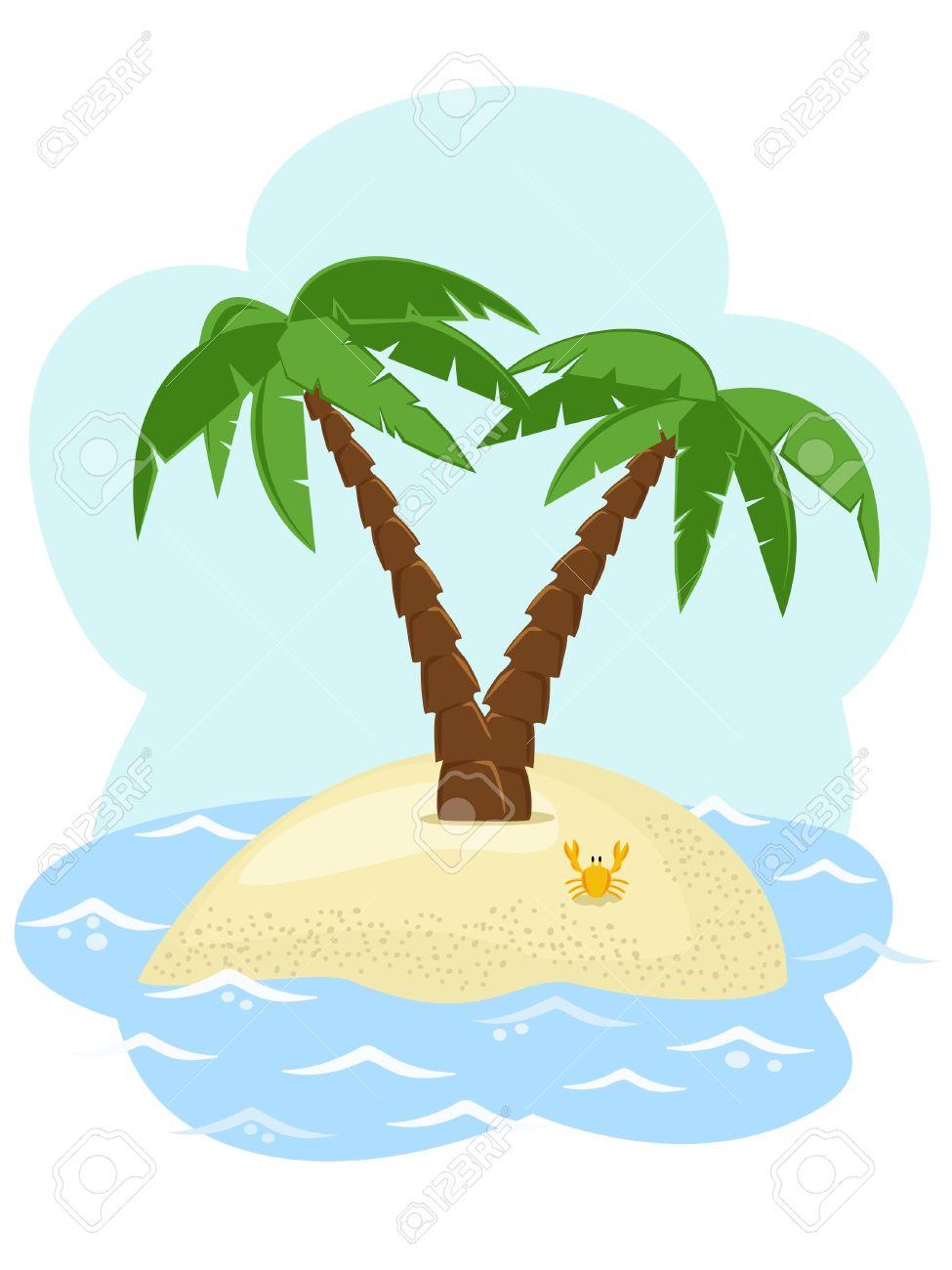 Tropical Island With Two Palm Trees Among The Sea Royalty Free ...
