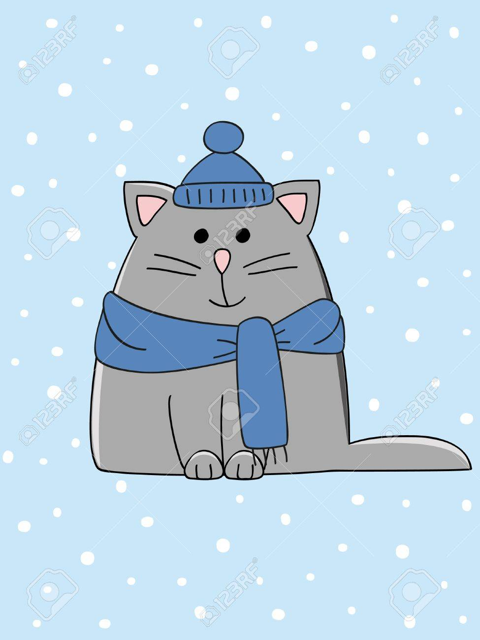 a cute winter dressed kitten on a snowy background Stock Vector - 10419911