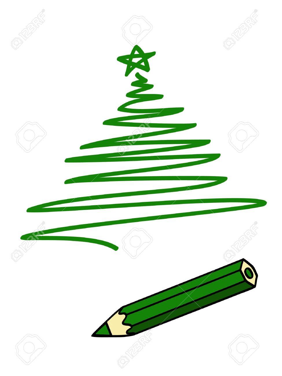 Un Lápiz Verde Y Un Dibujo Verde De Un árbol De Navidad