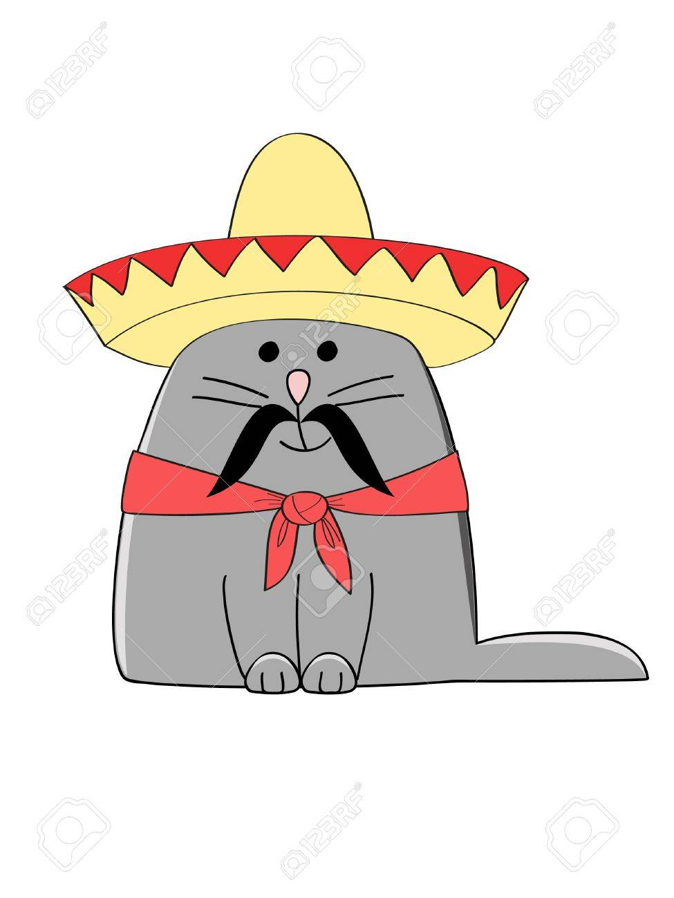 a cute grey kitten dressed as a Mexican Stock Vector - 13127967