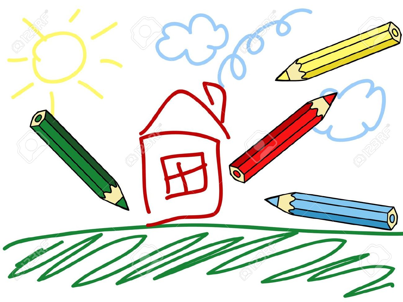 A Child S Drawing And Colorful Pencils Royalty Free Cliparts Vectors And Stock Illustration Image 14368110