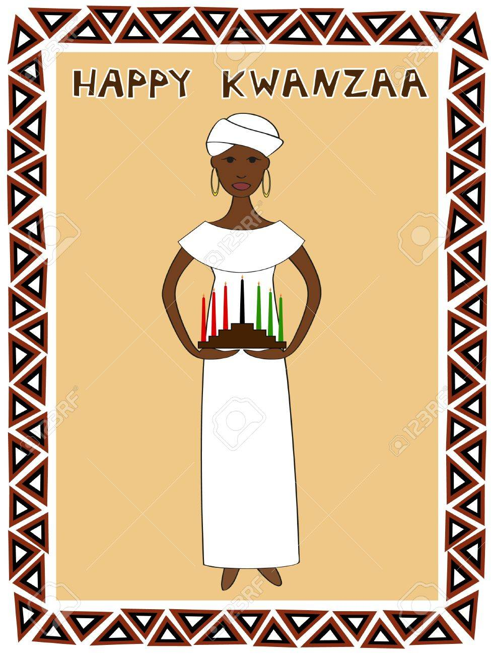 an African woman in traditional clothes with a kwanzaa kinara Stock Vector - 14589523
