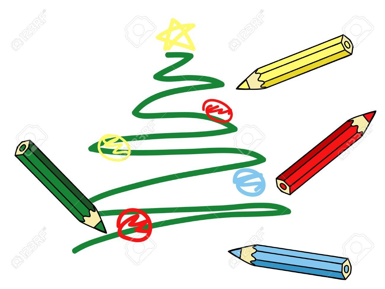 a child�s Christmas tree drawing and colorful pencils vector illustration Stock Vector - 16849009